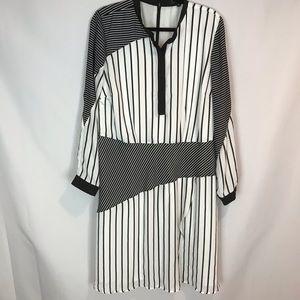Eloquii Sz 18 Mixed Media Striped Dress NWT